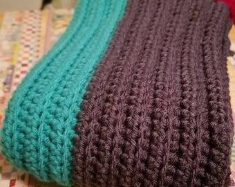 Crocheted Teal & Gray Scarf