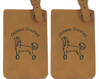 Chinese Crested Standing Luggage Tag 2 Pack L2127