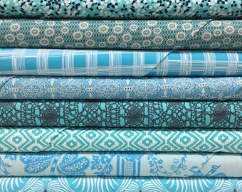 Quilt Sandwich's Color Pack - 10 Fat Quarters - Turquoise