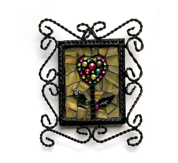 Mosaic Heart Flower Framed Art, Black Twisted Wire Framed Mosaic Art, Goth Mosaic Heart Art, Mixed Media Gothic Art, Mosaic Heart Gothic Art