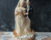 Vintage chalk wedding cake topper bride and groom 1940's Shabby wedding marriage decor collectible