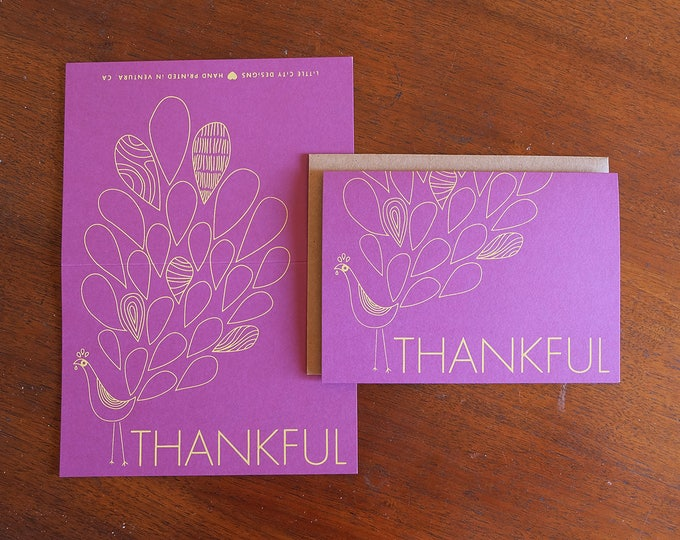 Hand Printed Thanksgiving Greeting Card - Set of Three