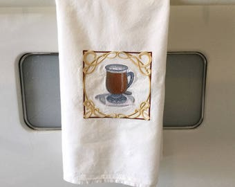 Specialty Dish Towel - Coffee Theme Flour Sack Towel - Embroidered Towel - Flour Sack Towel - Hanging Kitchen Towel