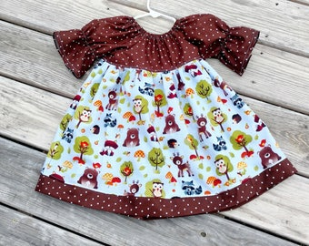Girls Fall Dress - Peasant Dress - Forest Animals -  Twirl Dress - Bell Sleeve Dress - 3/4 sleeve Dress - Groovy Gurlz