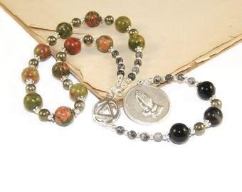 Serenity Prayer Beads, Sobriety Gift for 12 Step Recovery Meditation, Gemstone Beads