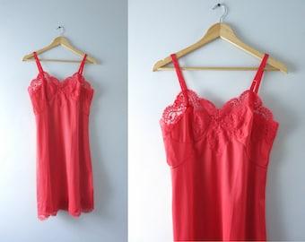 Vintage Red Slip Dress | 1960s Scarlet Red Floral Lace Full Slip M 36 Bust