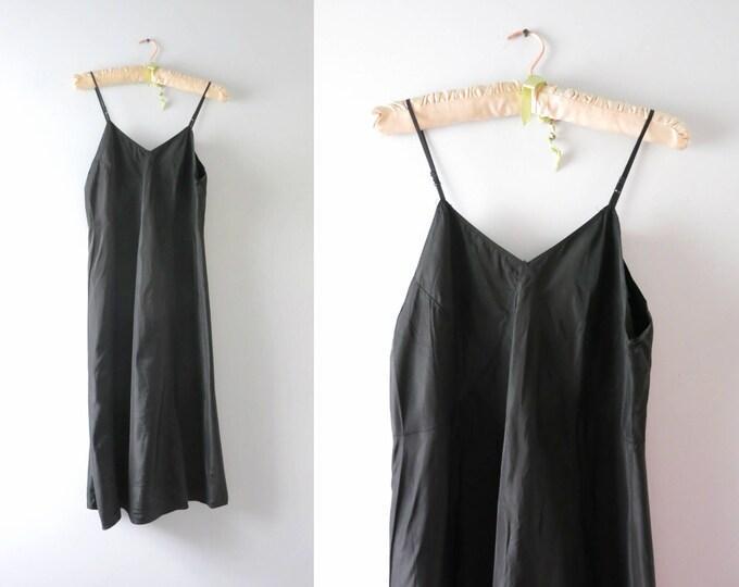Vintage Black Slip Dress | 1940s Minimalist Black Rayon Slip Dress Size L