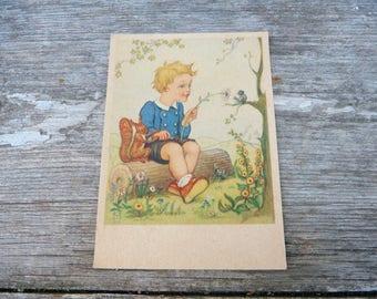 Vintage 1930/1950s  French postcard  adorable illustration