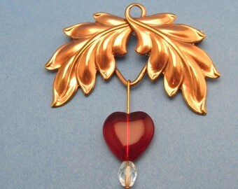 Heart Pin Leaf brooch Vintage leaf brooch Love Brooch red heart pin red heart earrings MyElegantThings