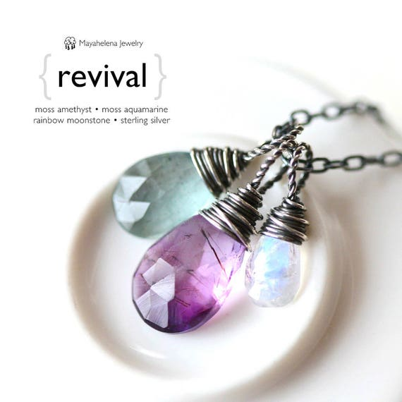 Revival - Wire Wrapped Trio - Moss Amethyst Moss Aquamarine and Rainbow Moonstone Briolette Sterling Silver Necklace