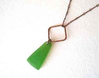 Long Single Drop bright green Sea Glass Necklace on Copper with Hammered Copper Detail