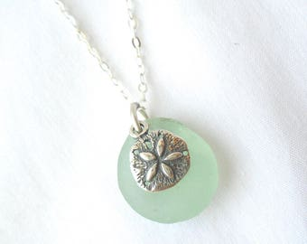 Sea Foam Green Sea Glass Necklace with Sterling Silver Sand Dollar Charm