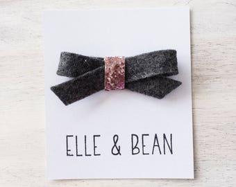 Charcoal & Pink Lilly Bow- RTS Felt and Glitter School Girl Bow. Clip or Headband.