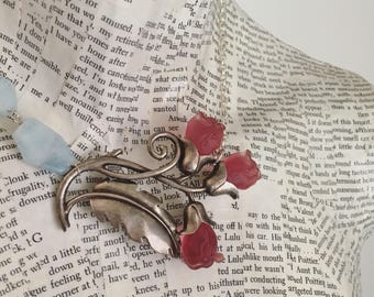 One of a kind vintage assemblage necklace with vintage pin and aquamarine  / OOAK