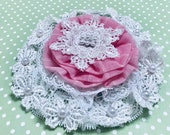 Handmade Flower, Wedding Package Topper, White Beaded Lace, Gift Bow, Large Embellishment, Bag Trim, Fabric Rosette, Large Handmade Doily