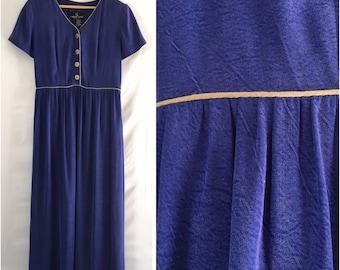 Vintage 90's Silk Like Maxi Dress Empire Waist