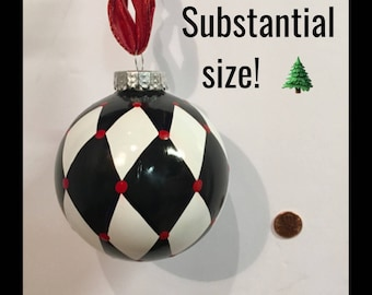 Christmas Tree Ornament (1) // harlequin Ornament // Whimsical Painted Ornament Harlequin // Black and White Ornament