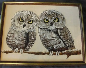 Vintage impasto oil painting of two brown owls 1970s framed