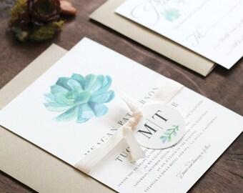 Modern Succulent Wedding Invitation, Watercolor Succulent Wedding Invitation, Desert wedding, Outdoor wedding invitation, DEPOSIT