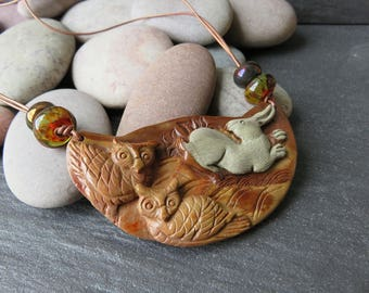 OWLS and BUNNIES - Jasper and Lampwork Rabbit Necklace