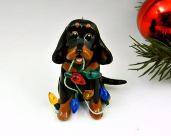 Black and Tan Coonhound Christmas Ornament Figurine Porcelain Clay Lights
