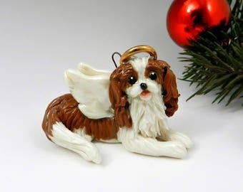 Angel Cavalier King Charles Spaniel Christmas Ornament Figurine Porcelain