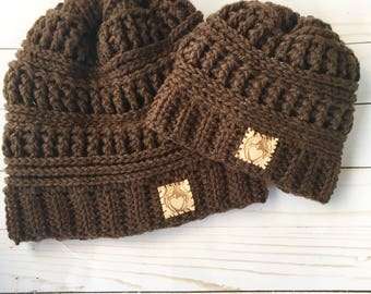 Daddy and Me Beanies, Mommy and Me hats, Fur Pompom Hats, Matching Hats,  brown winter hats,
