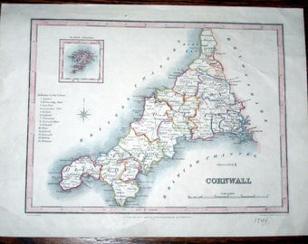 Antique (1844) Map  of Cornwall England