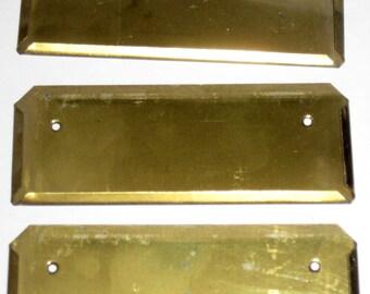3 Vintag Brass Label Holders