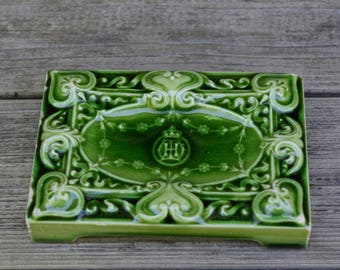 Antique Art Nouveau Tile Minton Hollins Stoke Upon Trent Green Glaze Dish