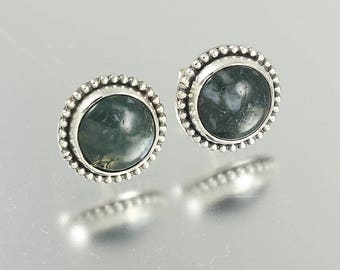NEW - Sterling Silver Moss Agate Studs with Bead Frame