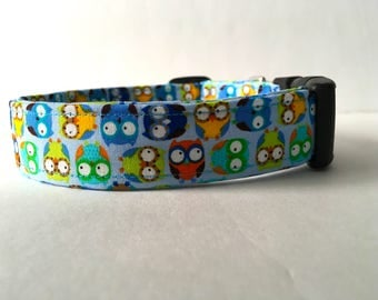 Personalized Dog Collar Sky Blue Owls Boy Collar Cute Colorful Pattern What A Hoot Made In USA Pet Identification Buckle No Tags Necessary