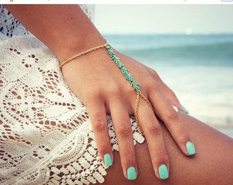 SUMMER SALE LOVMELY Hand Chain. bracelet. slave bracelet. turqouise or coral