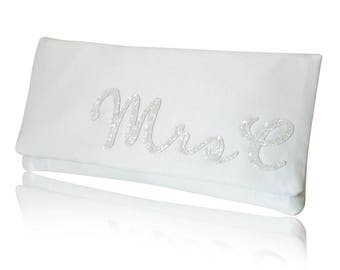 Ivory satin MRS personalised initial wedding day bridal clutch purse