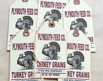 Primitive Turkey Grain Thanksgiving Fall Autumn Feedsack Gift or Scrapbook Tags #1281