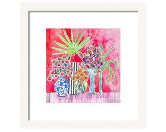 Watercolor Floral Art Print-Flower Watercolor Print-Flowers in Vases-Flower Wall Art-Flower Wall Decor-Chinoiserie Decor