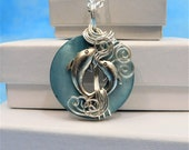 Dolphin Necklace Beach Jewelry Girlfriend Gift Artisan Crafted Unique Wire Wrapped Pendant Ocean Theme Sea Wildlife Animal Lover Present