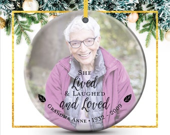 Custom Photo Ornament, Christmas Ornaments, Sympathy Gift, In Memory Of Mom, Grandma, Memorial Gifts, Remembrance Gifts // C-P122-OR ZZ2