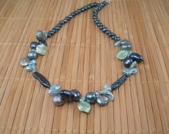 Teal Long Pearl Necklace Teal Aqua Pearls  Statement Necklace Freshwater Pearl 17 inch Blue Green Pearl Cluster Necklace 3 Shades of Teal