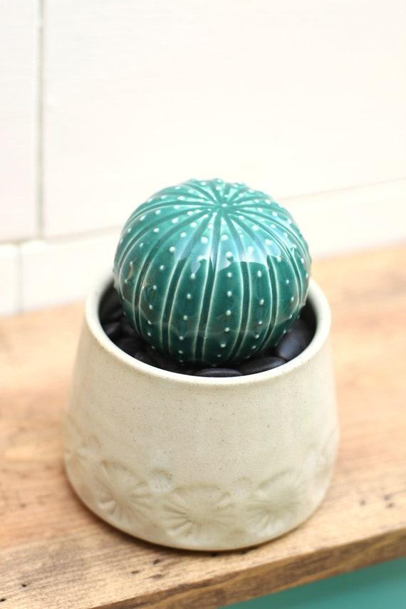 porcelain cactus and pot // cactus decor // cactus plant  // cactus pot