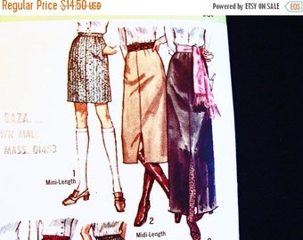 on SALE 25% Off 1970s Skirt Pattern Size 16, Womens Mini Skirt, Midi Skirt, Maxi Skirt, Easy to Sew