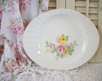 Old Pink Roses and Yellow Roses Platter, Country Floral Rose Platter, Cottage Chic, Farmhouse Style, Ironstone Platter with Floral Design