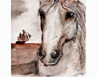 Wild horse painting, wild horse print, wild horses, wild horse on beach, horses on beach, ship, old ship, old ships, spanish horse