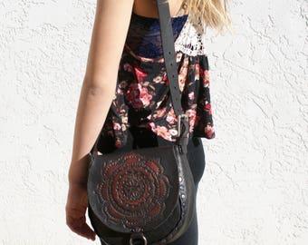 Tooled and Painted Leather Mandala Design Bohemian Shoulder Purse