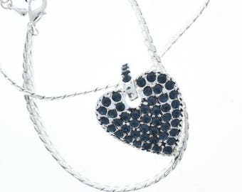 Crystal Heard Pendant , snake necklace included, 25mm, sold by each G2040.34
