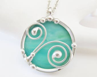 Stained Glass Jewelry Pendant Necklace Wire Work Women's Necklaces Handmade Gifts