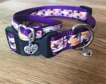 Best Friend Bracelet and Pet Collar Set in Cool Colored pinwheels print on Deep Purple Webbing.