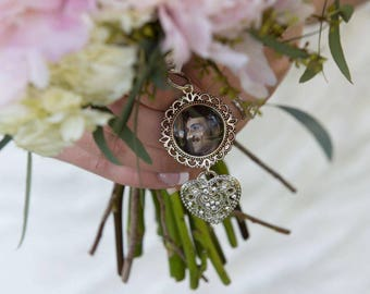 Custom Personalized Photo Double Sided Wedding Bouquet Charm for something treasured