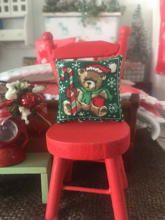 Dollhouse Hand Painted Red Chair and Vintage Christmas Pillow