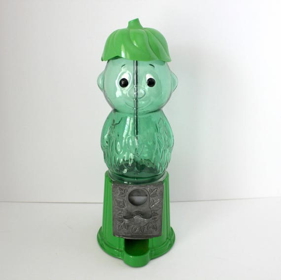 Vintage Little Green Sprout Gumball Machine Dispenser, Advertising Premium Figural Green Giant Company